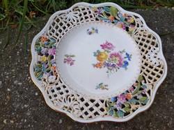 Ó-Herend tányér 1906, áttört széllel, színes virágdekorral, hibátlan