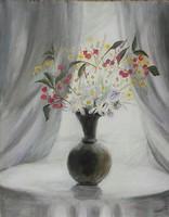 Vadvirágok fehér fényben.42x54 cm-es keret nélkül. Károlyfi Zsófia Prima díjas alkotó műve.