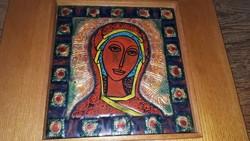 Lőrincz Vitus: Szűz Mária tűzzománc kép
