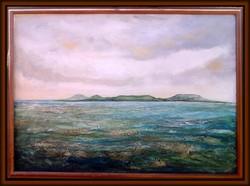 Távoli part. 70x90 cm-es kép, a Balaton látványa hajóról. Károlyfi Zsófia, Príma díjas alkotó műve.