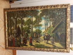 Történelmi jelenet, 60x93 a keretméret, vastagon festve, szignót nem látok