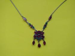 Antik rubin smaragd köves ezüst nyakék