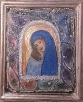 Mária Betlehemben.18x15 cm miniatúra. Parafára festett egyedi technika, Károlyfi Zsófia Prima díjas