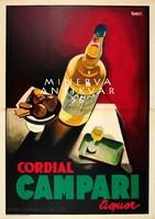 Campari hirdetés, csendélet, üveg, pohár. Vintage/antik reklám plakát reprint
