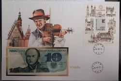 Lengyelország, 10 Zloty 1982 Unc,felbélyegzett díszborítékban.