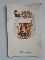 Régi újévi képeslap mókusos üdvözlőlap