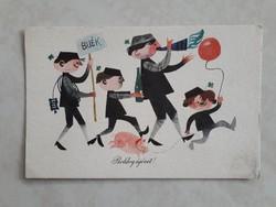 Régi újévi képeslap kéményseprős kismalacos üdvözlőlap