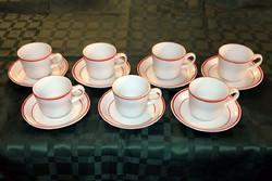Hollóházi porcelán kávéskészlet - 7 db kávés csésze és alj - piros szegély