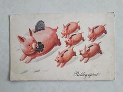 Régi újévi képeslap malacos perselyes retro üdvözlőlap