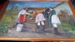 """""""Asszonyok a kúton"""" szép falusi életkép vászon festmény."""