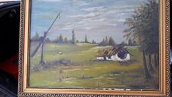 Elhagyott tanya gémes kúttal vászon olaj festmény.