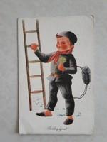 Régi újévi képeslap kéményseprős üdvözlőlap