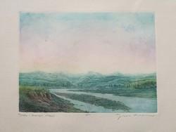 Eladó Gross Arnold színes rézkarca: Torda-Aranyos völgye