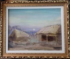 Őrségi este.40x50 cm-es kép, varázslatos vidéki hangulat. Károlyfi Zsófia Prim díjas alkotótól.