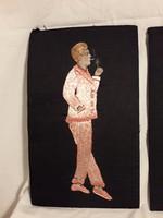 Antik  kivarrt hímzett festett nagy méretű selyem kép keret nélkül darabra