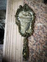 Gyönyörű régi réz kézitükör barokk mintás angyalka  fésülködő asztalhoz
