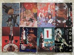 Régi újévi képeslap szilveszteri pezsgős retro üdvözlőlap 8 db