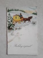 Régi újévi képeslap 1931 lovas hintós üdvözlőlap