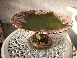 Talpas kínálótál majolika Schütz Cilli !gyönyörű szecessziós virágos kínáló!!