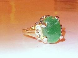 Jade köves Tibeti Ezüst Gyűrű 9-10 -es méret