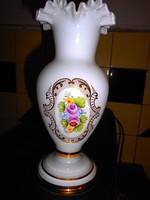 Szecessziós stíl kézzel festett  üveg váza