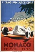 Monaco Grand Prix 1935 autóverseny reklám, Geo Ham. Vintage/antik plakát reprint