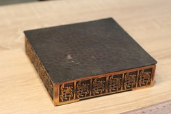 Réz díszítésű fa doboz 14 cm  ipraművészeti zsűrizett