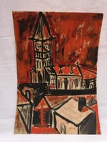 """"""" Vörös templom """" karton - tempera festmény"""