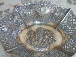 Szecessziós kináló, asztalközép, 470 gr ezüst, nagyméretű, 25 cm-es,gyönyörű,dianás jel