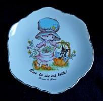 Gyerekmintás francia porcelán dísztányér