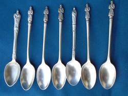7 db szerzete  antik mokkás kanál ezüst vagy ezüstözött igényesen megmunkált darabok