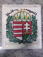 Kályhacsempe isten áldja meg a magyart címer díszitéssel