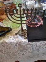 Judaika gyertyatartó, antik, gyönyörű állapotban, 20 cm-es, ünnepekre.
