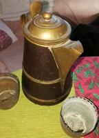 Régi perzsa teakiöntő m: 25 cm + 2 db réz kaspó m: 7 cm, d: 8 cm