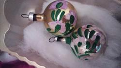 Retro kis karácsonyi gömbök kézzel festett