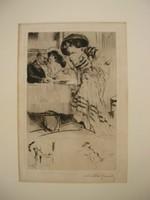 Lobel-Riche, Almery erotic art nouveau gravure etching Radierung szignált erotikus rézkarc aktokkal