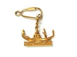 Velencei gondola arany színű kulcstartó, karneváli fityegő