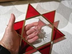 Ólomüveg hatágú csillag, Dávid-csillag alakú üveg függeszték