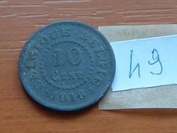 BELGIUM BELGIQUE - BELGIE 10 CENTIMES 1916 WW I CINK 49.