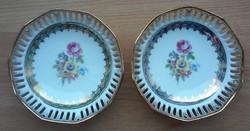 Áttört szélű, virágos, aranyozott, német PM porcelán tálkák, 2 db