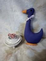 20527/7 ENS német porcelán rózsás bonbonier