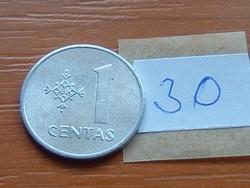 LITVÁNIA 1 CENTAS 1991 ALU. 30.