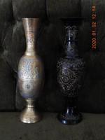 Indiai,retro,kézzel gravirozott vázák