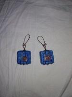 Türkizkék női fülbevalók, csüngős kék színű ékszer