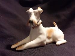 LEÁRAZVA! - Zsolnay fekvő foxterrier, foxi, kutya