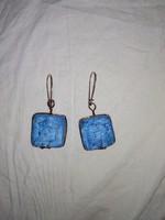 Világos kék, türkizkék női fülbevalók, csüngős  ékszer
