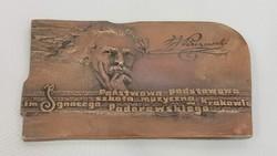 Régi Lengyel zenei bronz emlék plakett, Ignacy Jan Paderewski világhírű zongoraművész ,zeneszerző