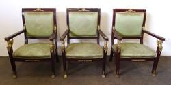 0234 Antik empire jellegű nagy méretű fotel 3 db
