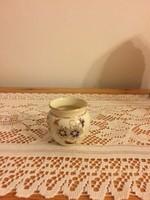 Zsolnay búzavirág mintával díszített elefántcsont színű miniatűr kaspó