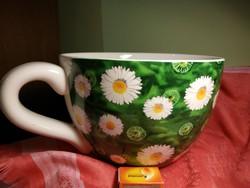 Porcelán csésze-kaspó, nagy méretű